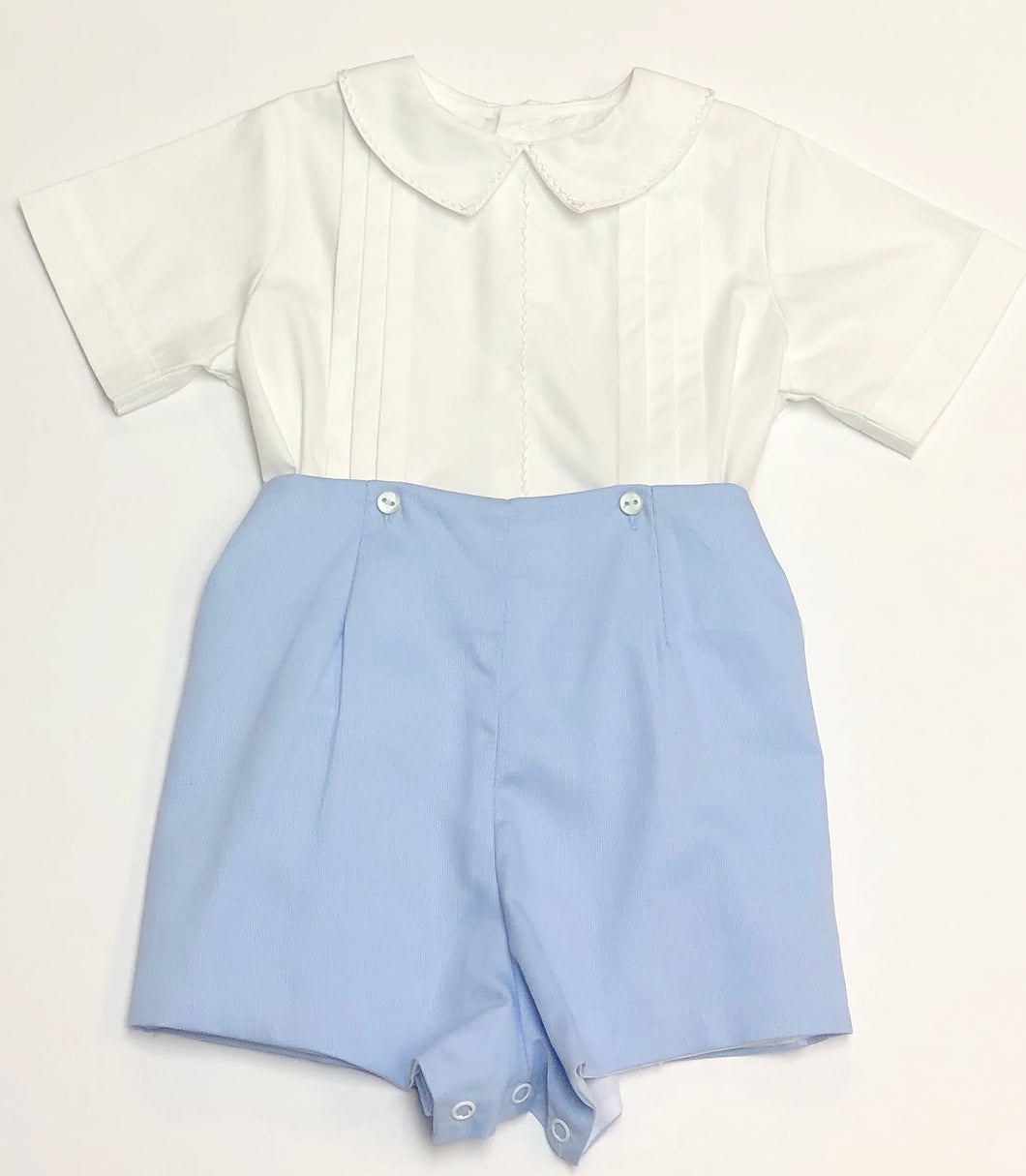 Light Blue Pique Short Set