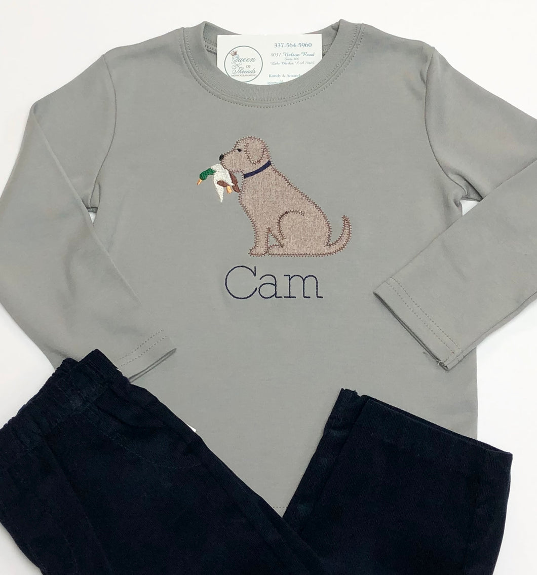 Applique Dog with Bird L/S Tee