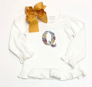 Fall Floral Letter L/S T-Shirt