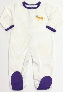 Yellow Dot Footie with Purple Trim