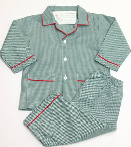 Green Plaid with Red Trim Boy Pajama Pant Set