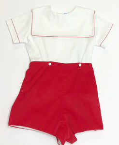 Boys Red Corduroy Short Set