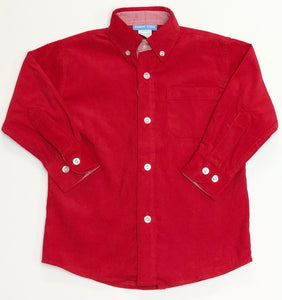 Red Corduroy Long Sleeve Button Down Shirt