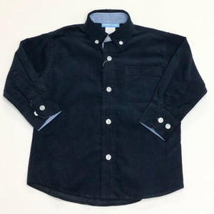 Navy Corduroy Long Sleeve Button Down Shirt