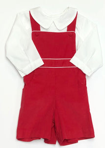 Boys Red Corduroy Suspender Shortall