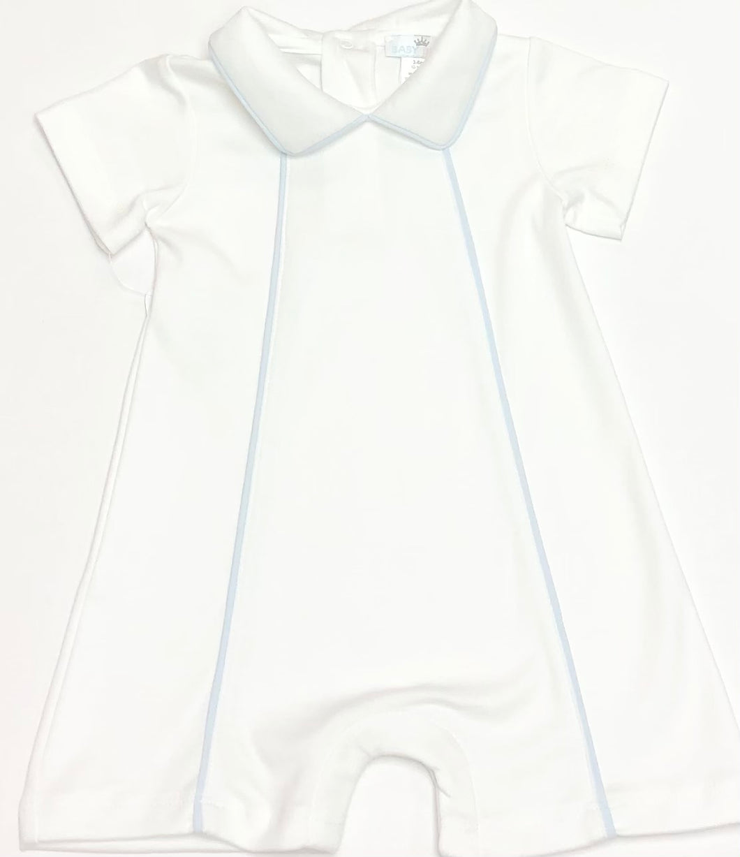White Thomas Pima Playsuit with Blue Trim