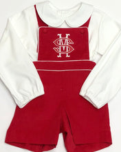 Load image into Gallery viewer, Boys Red Corduroy Suspender Shortall
