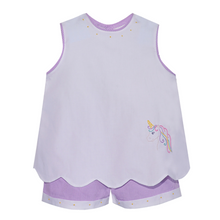 Load image into Gallery viewer, White/Purple Unicorn Short Set