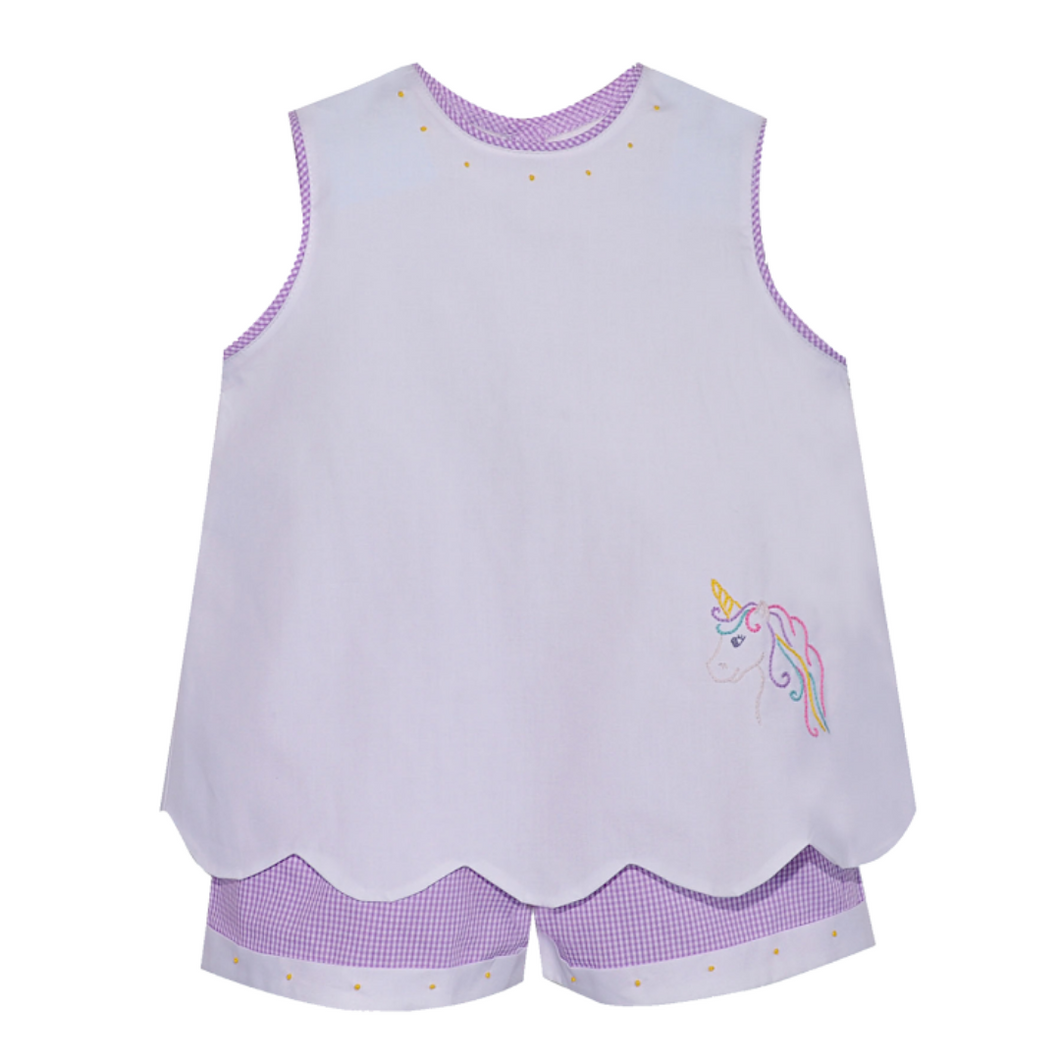 White/Purple Unicorn Short Set