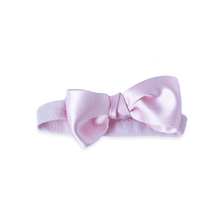 Load image into Gallery viewer, Light Pink Satin Bow on a Soft Headband
