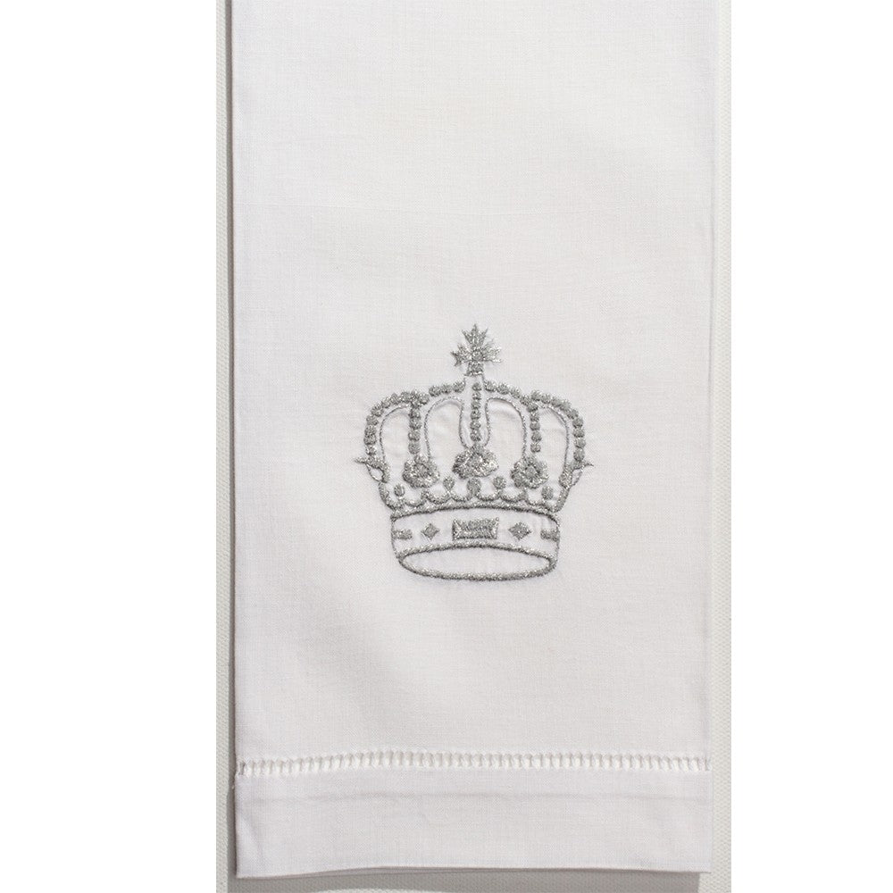 Silver Crown Hand Embroidered Towel