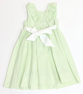 Lime Green Seersucker Ruffle Dress