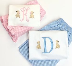 Girls Initial with Mini Dogs Ruffle Tee