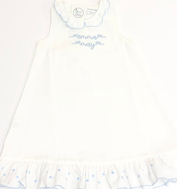 White Nightgown with Blue Trim