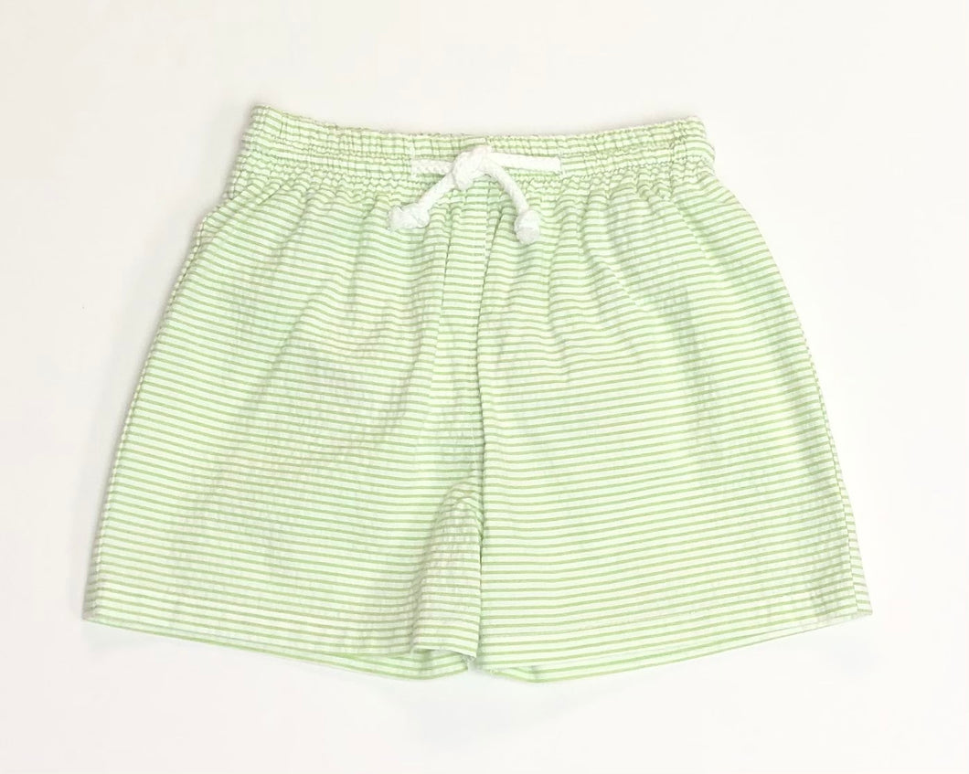 Lime Green Seersucker Swim Trunks