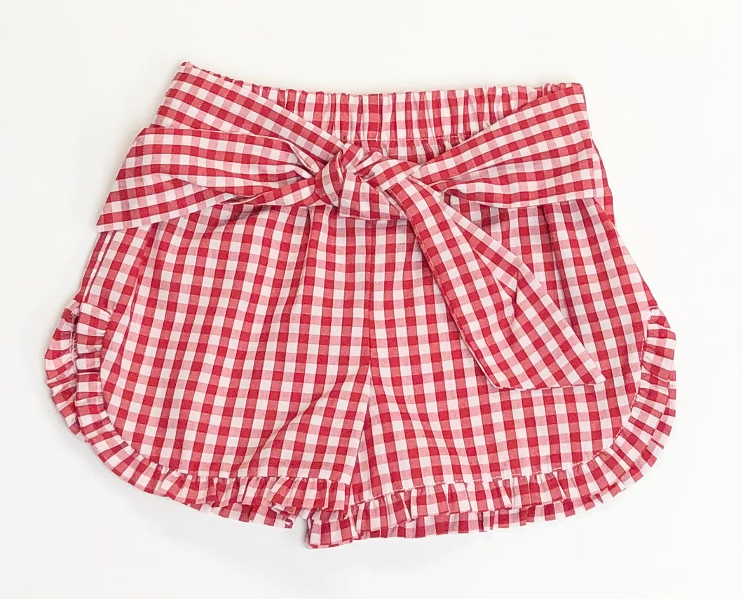 Red Gingham Ruffle Shorts with Bow