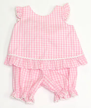 Load image into Gallery viewer, Pink Gingham Ruffle Bloomer Set