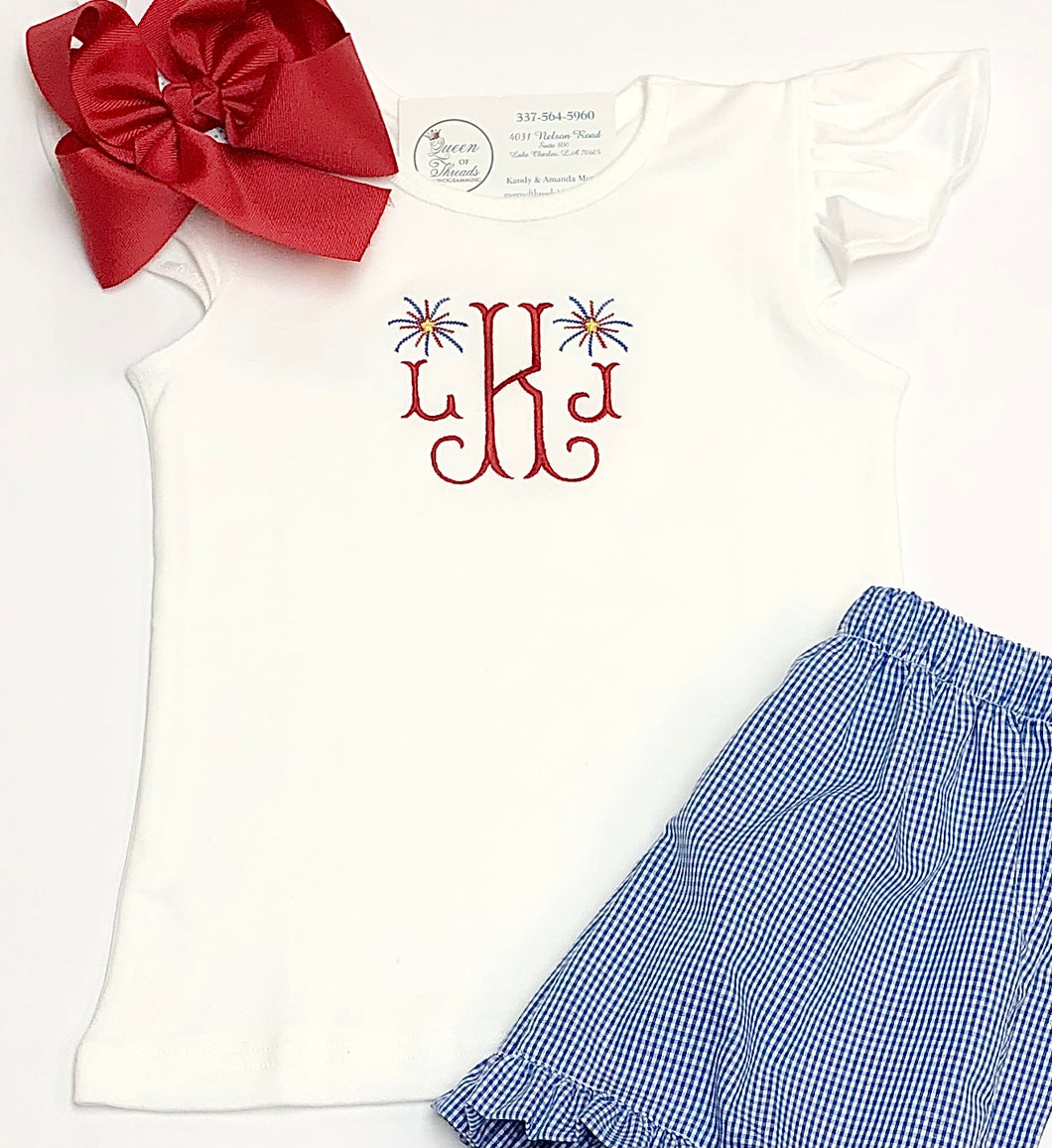Initials with Mini Fireworks Flutter Sleeve Tee