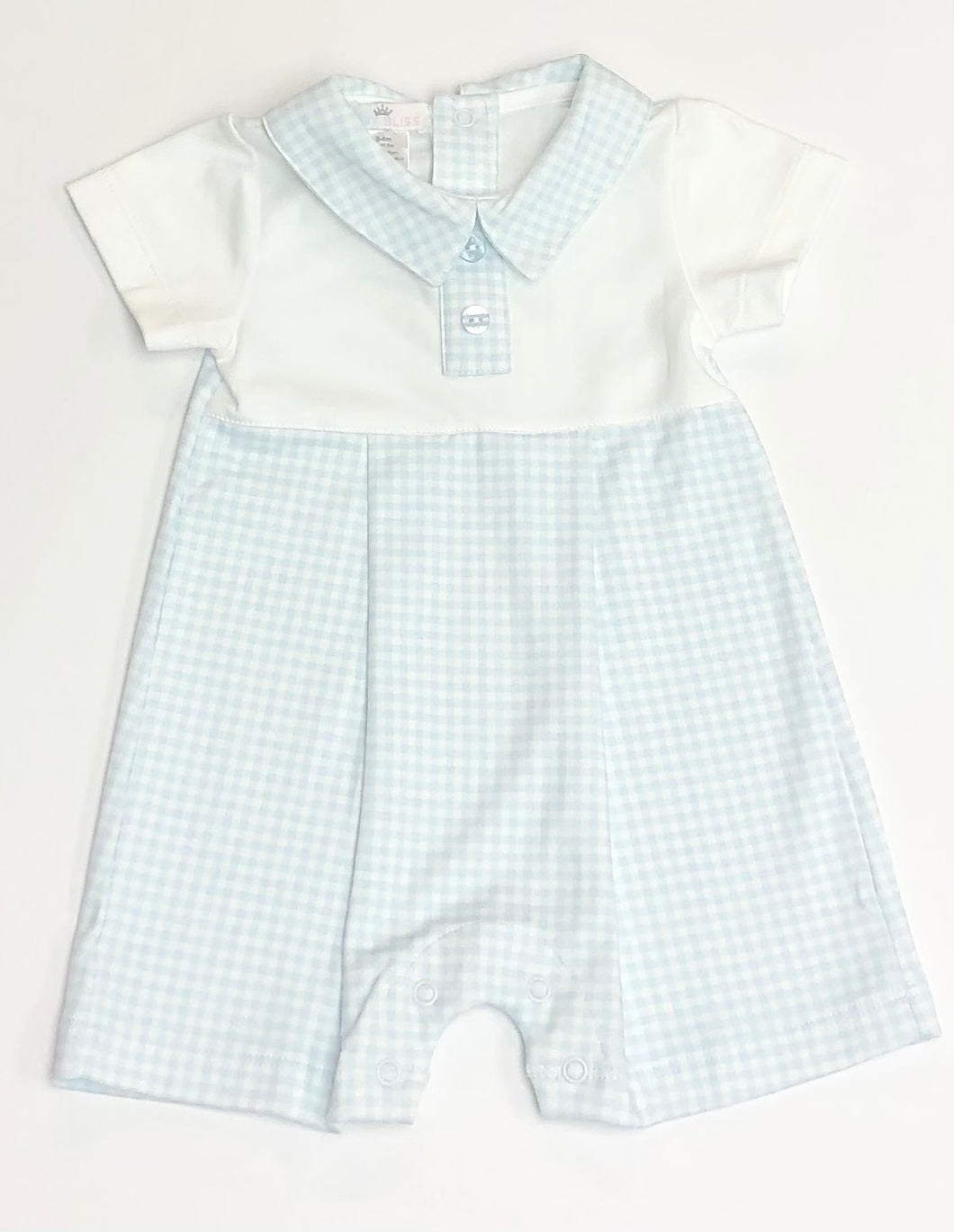 Peter Blue Gingham Pima Playsuit