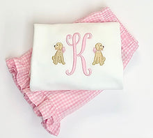 Load image into Gallery viewer, Girls Initial with Mini Dogs Ruffle Tee