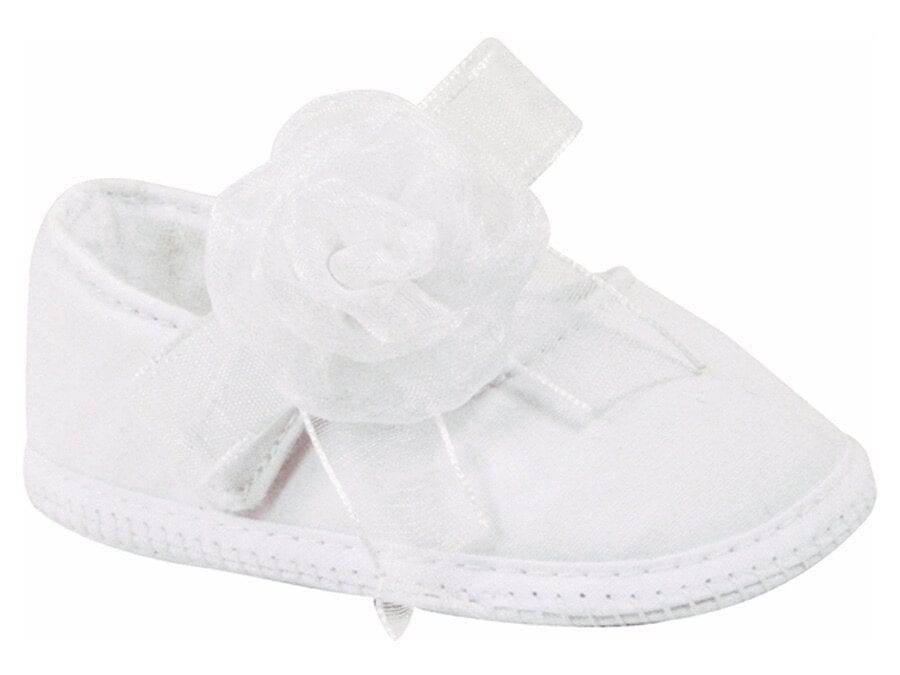Girls White Mary Jane Flats with Flowers