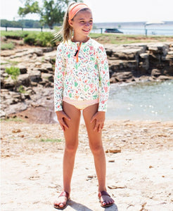 Desert Blossom Long Sleeve Zipper Rash Guard Bikini
