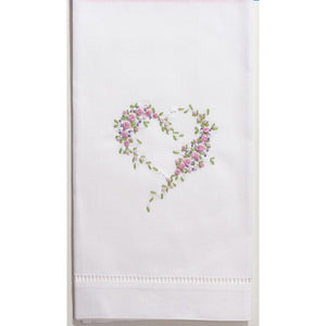 Scattered Heart Hand Embroidered Towel