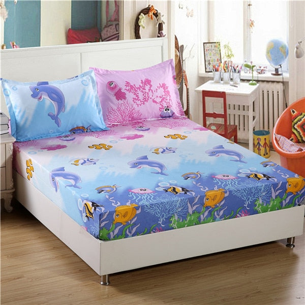 Kids Fitted Sheet With 2 Pillowcase Bed Sheet Queen King Size