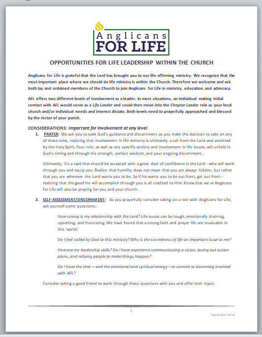 Opportunities for Life Leadership in the Church