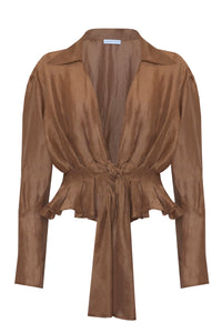 Irena Pleated Shirt in Tan