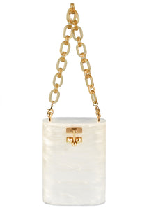 Oval Bag in White Pearlescent
