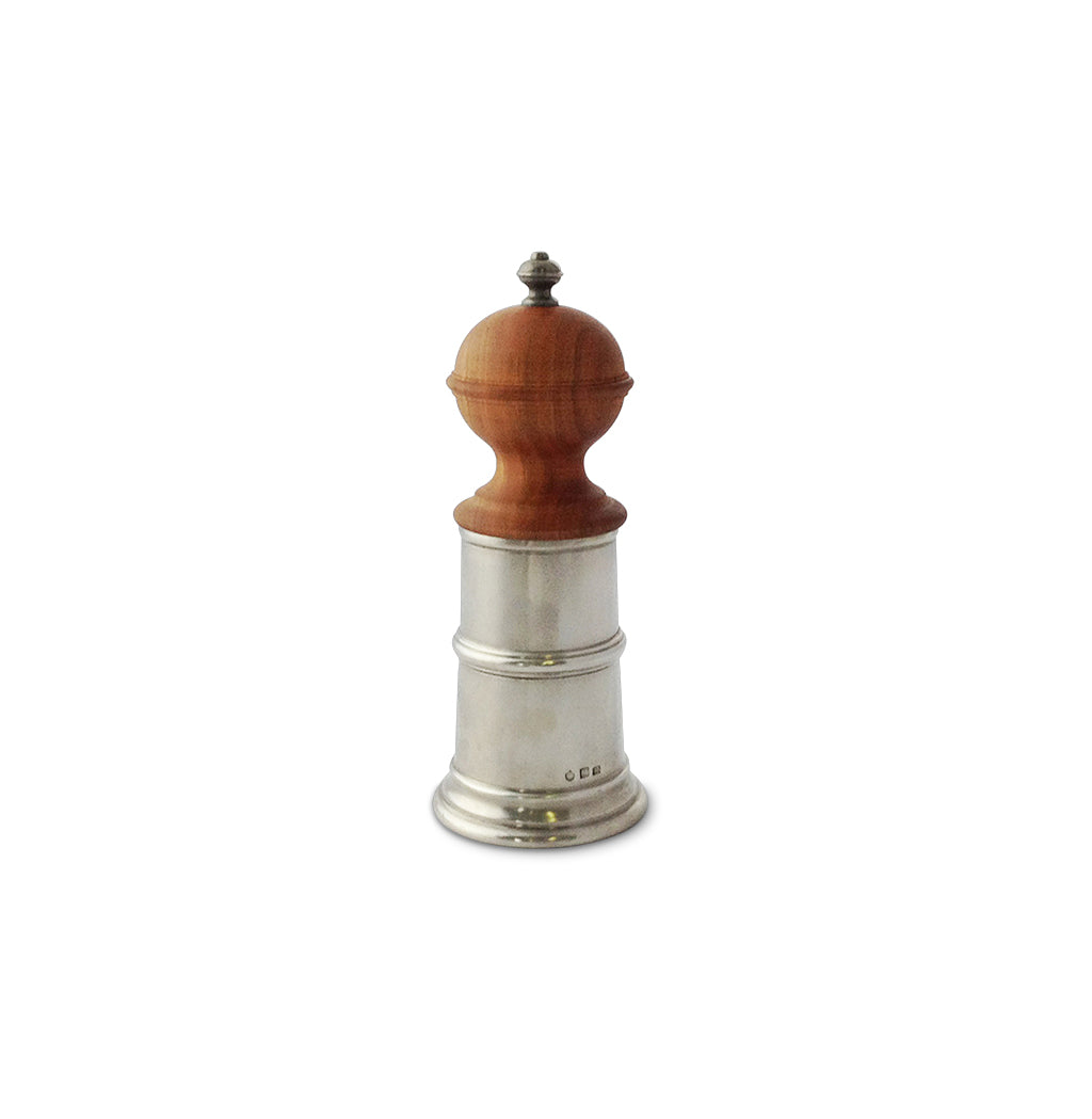Wood and Pewter Pepper Mill