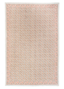 "Block Print Rectangular Table Cloth in Muted Sage and Blush 72"" x 132"""