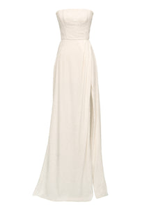 Bernini White Floral Jacquard Wrap Gown