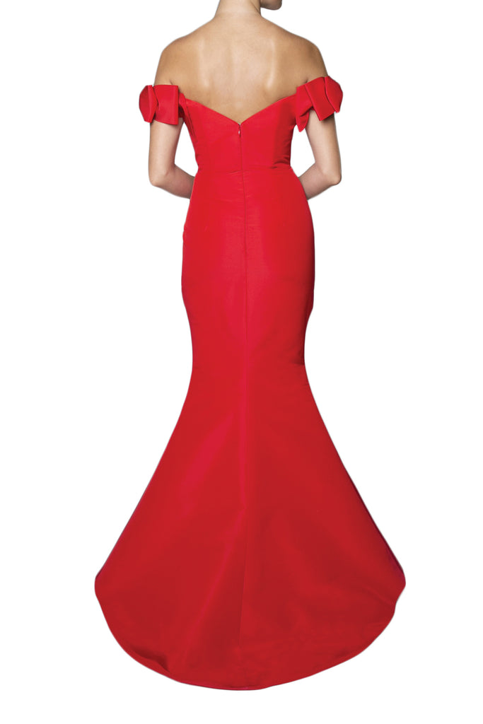 Silk Faille Off-The-Shoulder Bow Gown