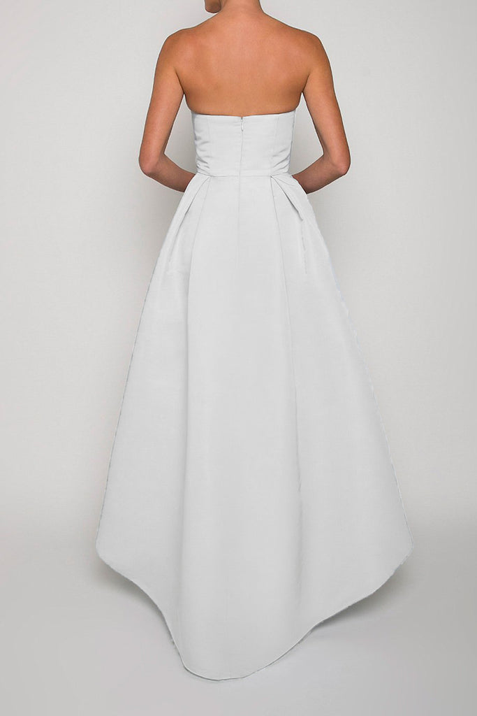 Silk Faille Twisted Bow High-Low Gown