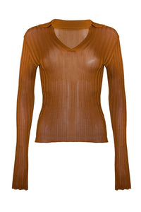 Daisy Long-Sleeve Polo in Tan