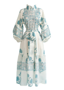 OTM Exclusive: The Paloma Flounce Dress in Baby Blue Marigold