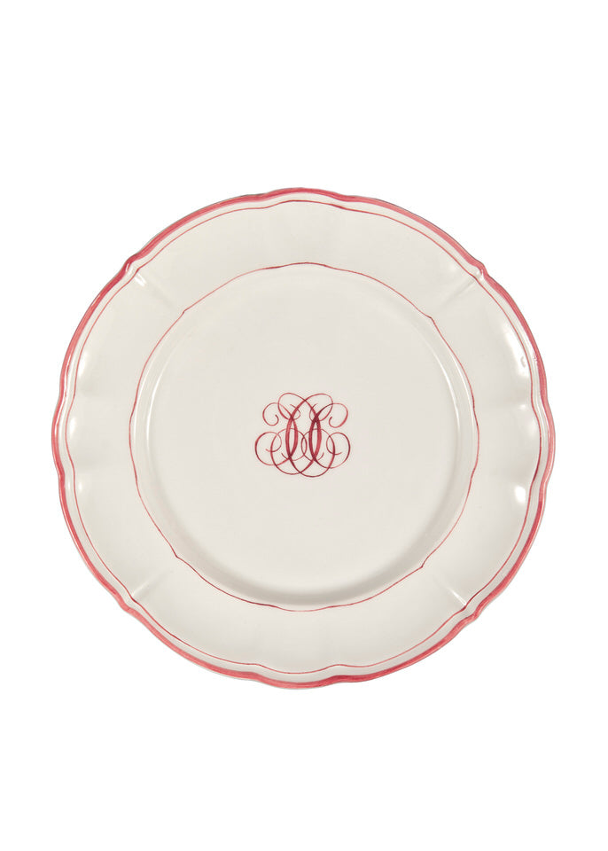 Bespoke Milano Plate with Central Monogram and Rim