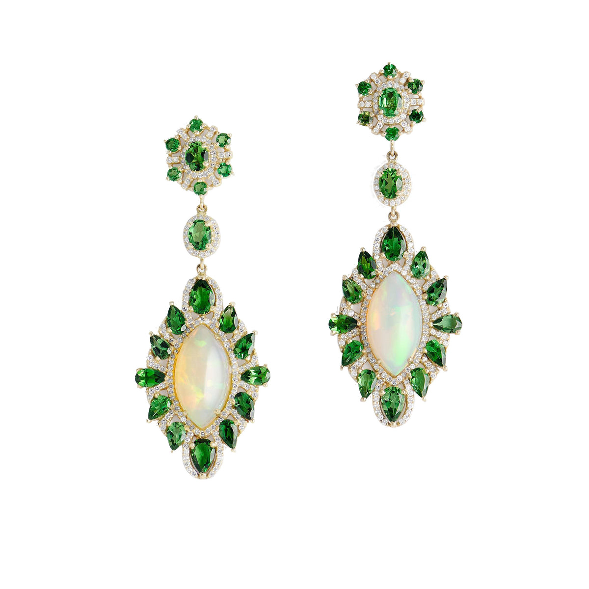 Kamakhi Opal and Peridot Earrings