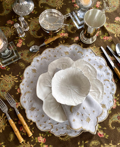The Astral Linen Placemat in White Linen and Gold Embroidery
