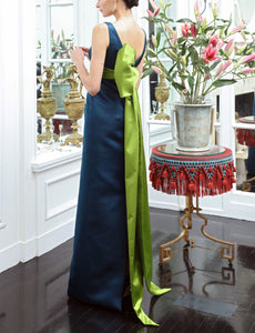 Bateau Neck Double Faced Italian Satin Column Gown with Back Half Bow