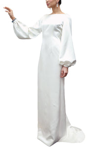 Bateau Neck Italian Silk Satin Full-Sleeve Draped Column Gown