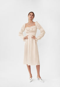 Michelin Silk Dress in Pearl White