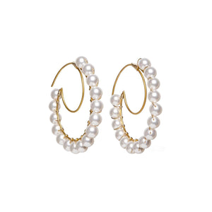 Pearl Lune Hoops Earrings
