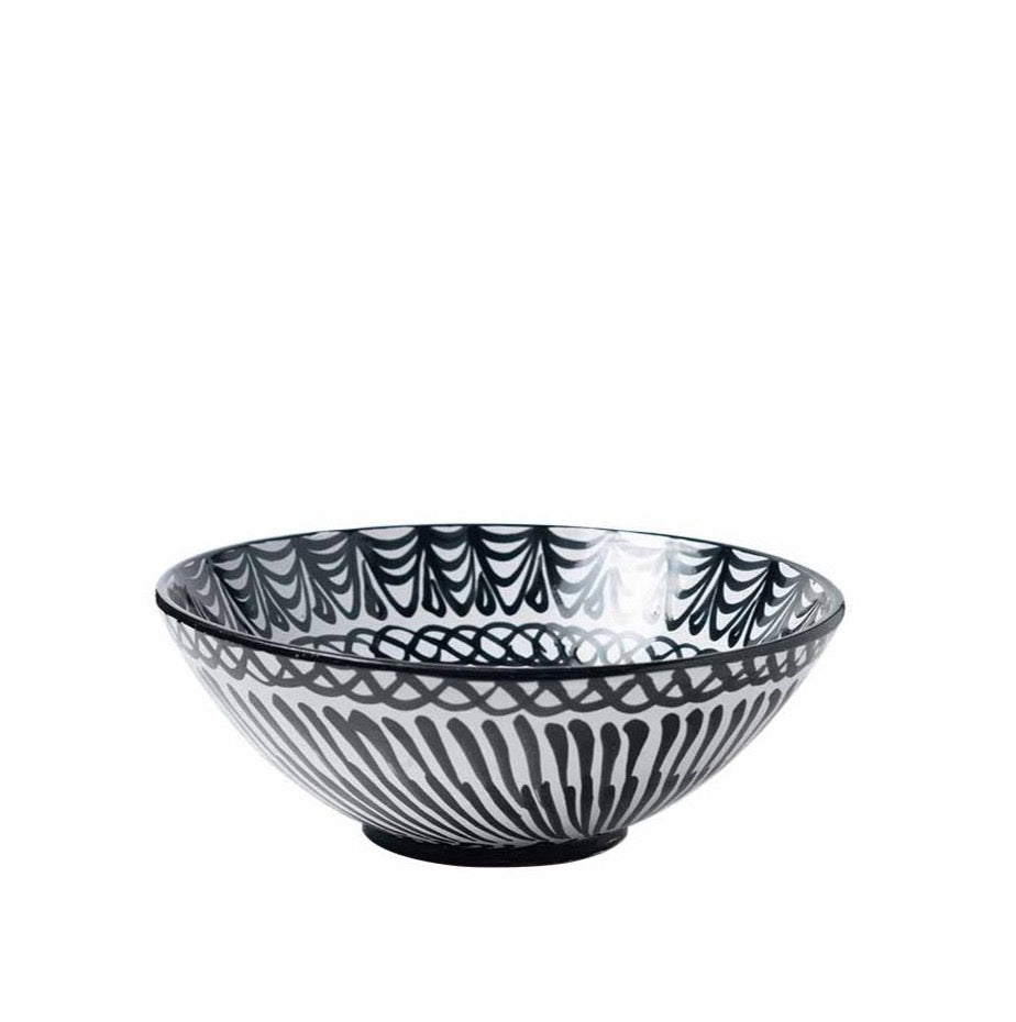 Casa Blanca & Negra Large Bowl with Hand-painted Designs