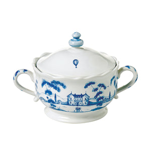 Country Estate Delft Blue Sugar Pot Main House