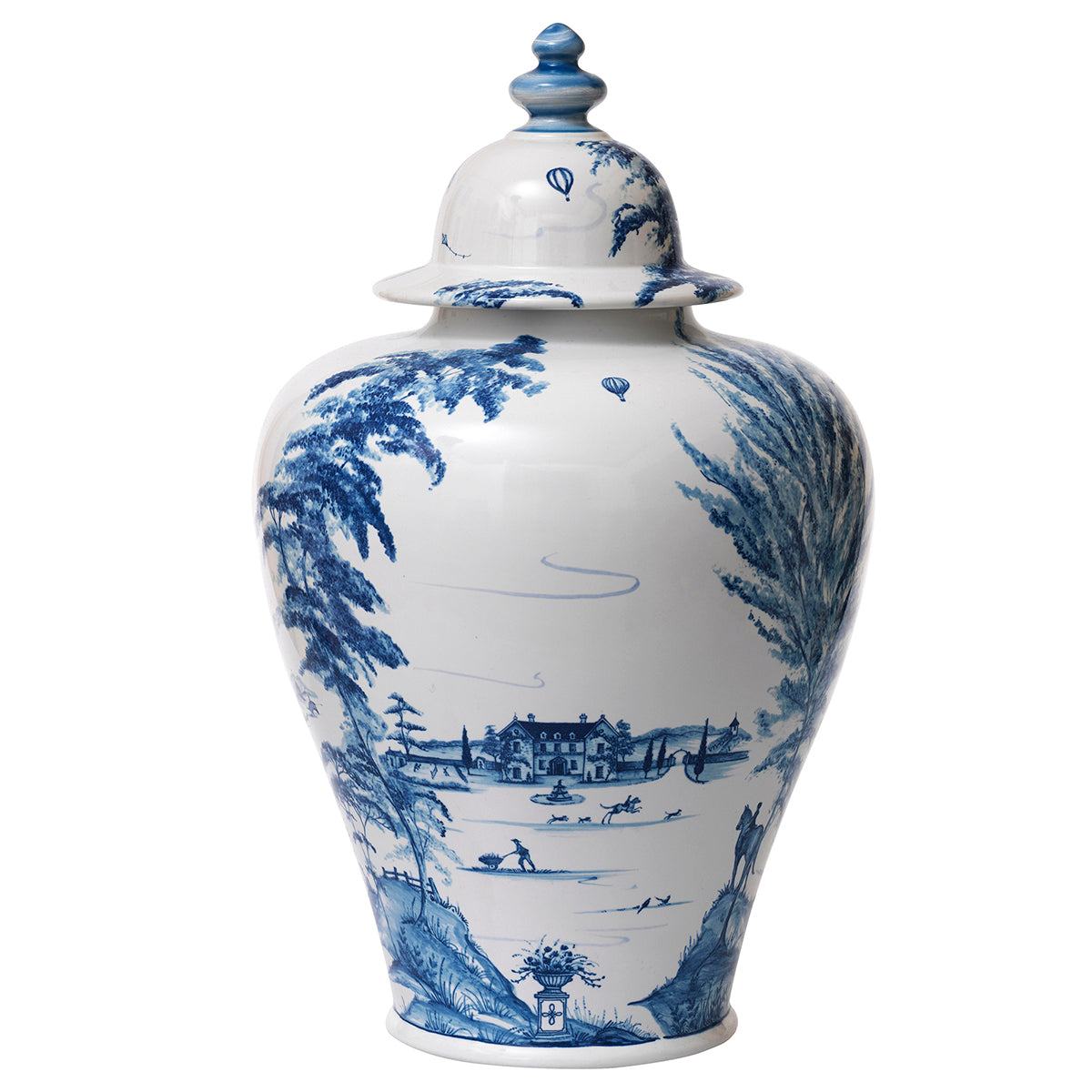 "Country Estate Delft Blue 17"" Lidded Ginger Jar Estate Grounds"
