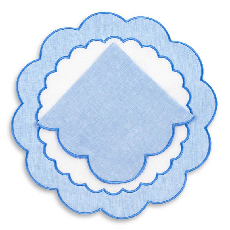 Made-to-Order Colette Linen Placemat and Napkin, Set of 12 in Blue