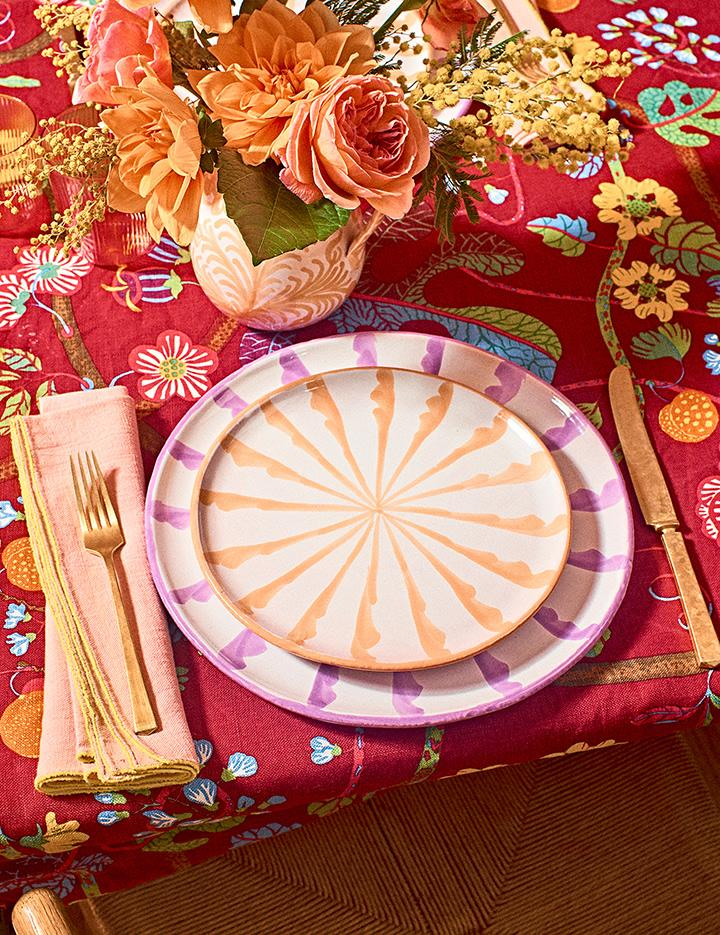 Casa Lila Dinner Plate with Candy Cane Stripes